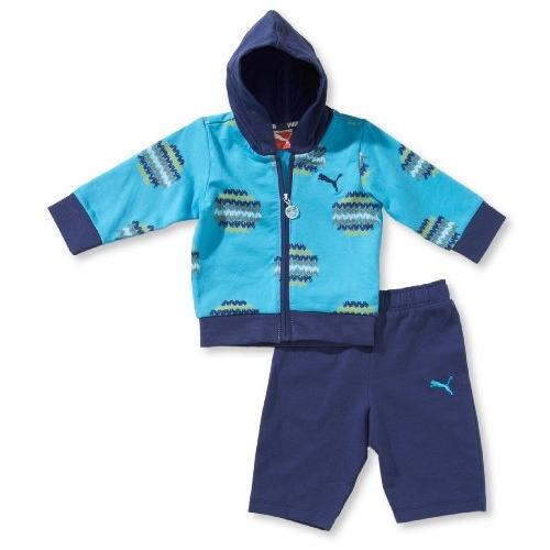 Detská súprava PUMA Allover hooded jogger - modrá - MiMa Sport 0a797a44963