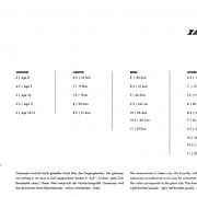 Velkostna tabuľka ZANIER